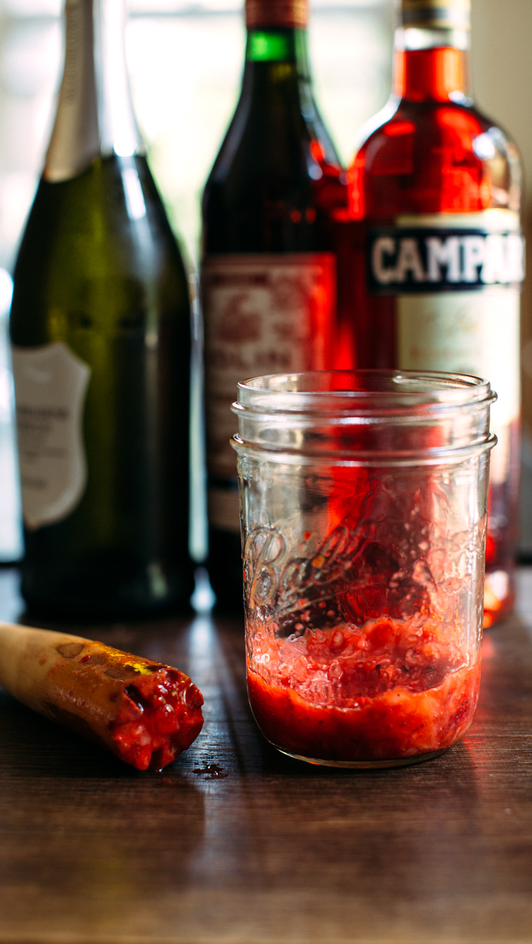 Strawberry, Basil + Pink Peppercorn Negroni