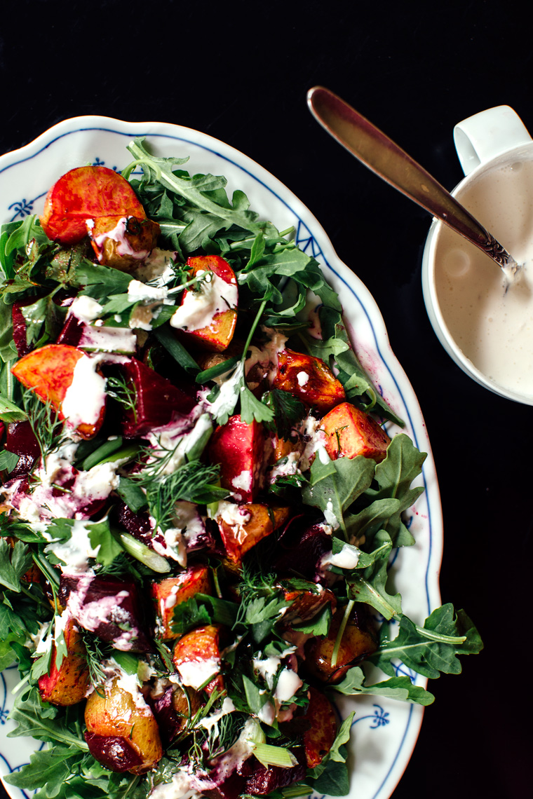 Marinated Beets + Roasted Potato Salad with Crème Fraîche Horseradish Dressing