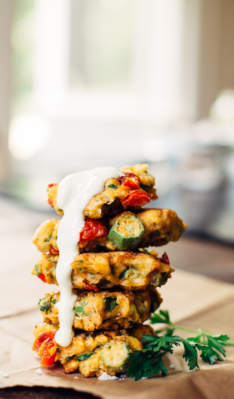 Tomato + Okra Corn Cakes with Roasted Garlic Aïoli