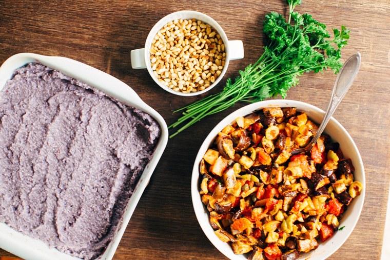 Purple Polenta with Roasted Eggplant Caponata
