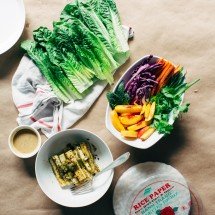 Summer Rolls with Peaches + Spicy Green Tofu + a Peanut / Coconut Dipping Sauce