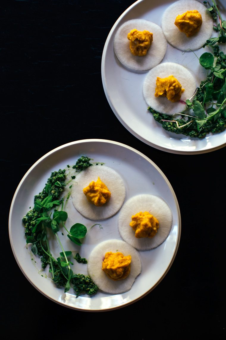 Pumpkin Stuffed Turnip-Ravioli with Pepita Pesto