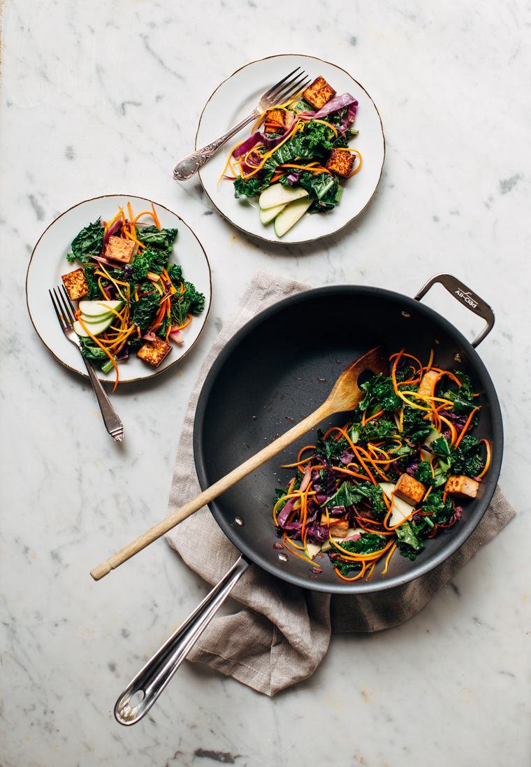 Kale Stir Fry with an Apple Cider Sauce