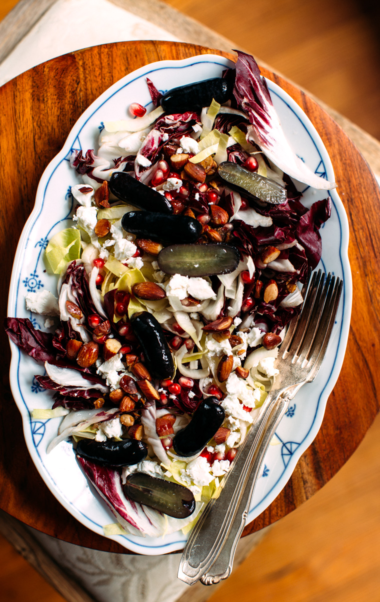 Radicchio Salad With Pickled Grapes + Goat Cheese