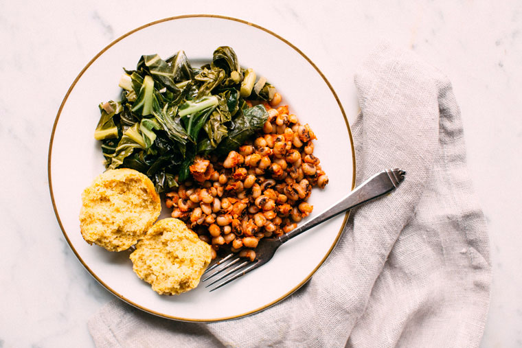 Collard Greens, Black Eyed Peas + Cornbread