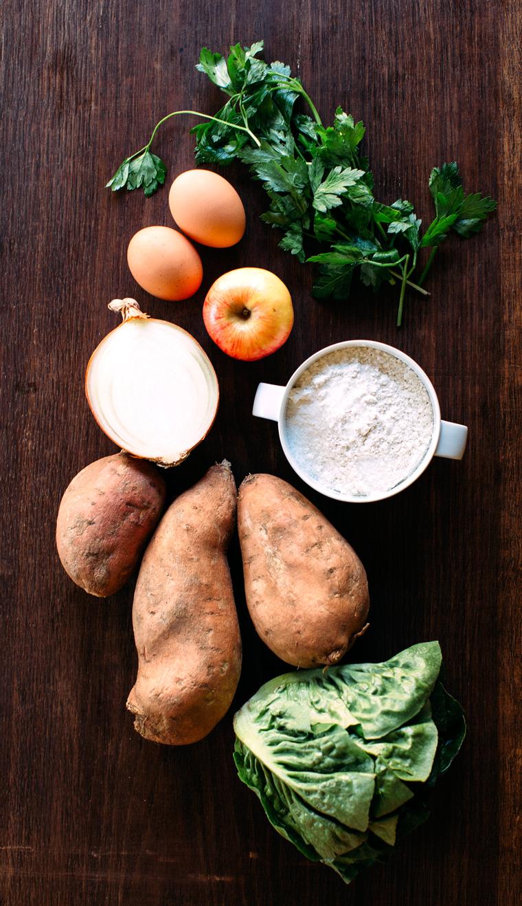 Sweet Potato Fritters in Little Lettuce Boats