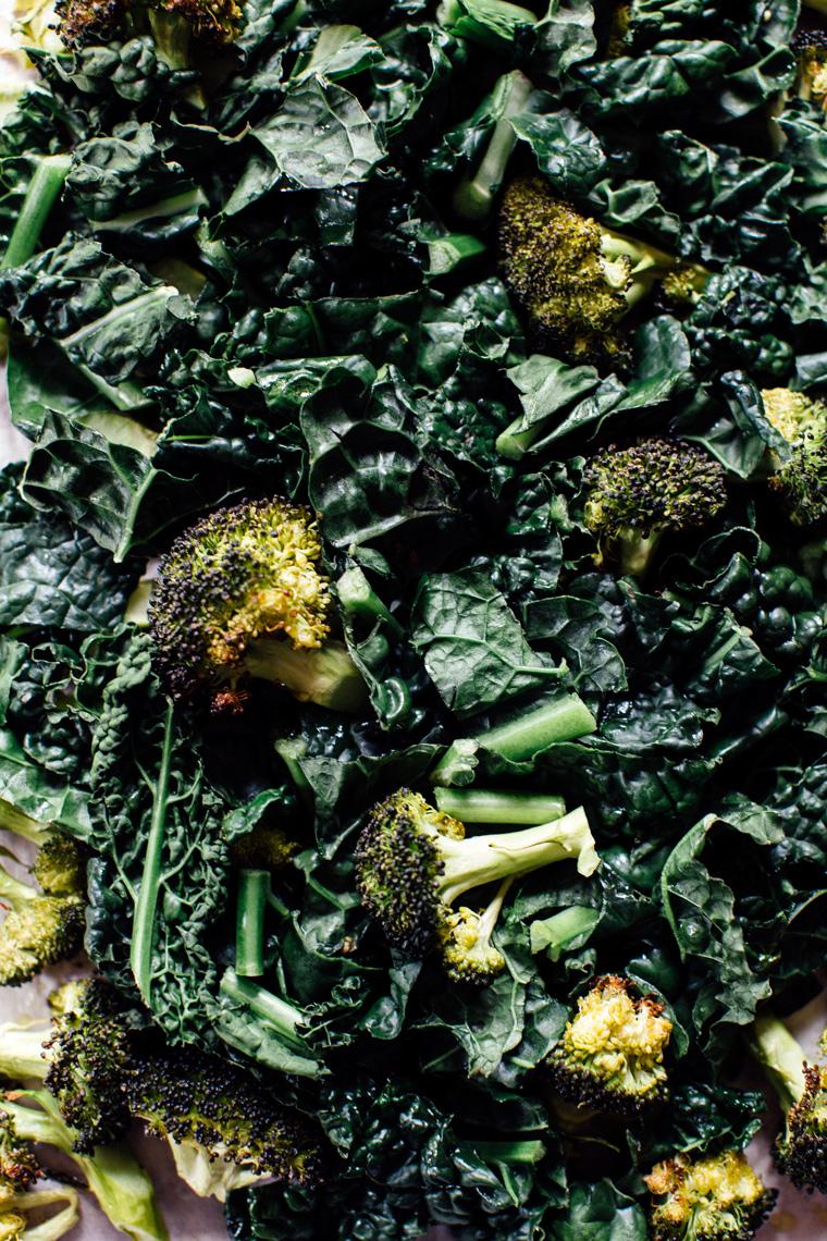 Quinoa Kale Casserole with Roasted Broccoli