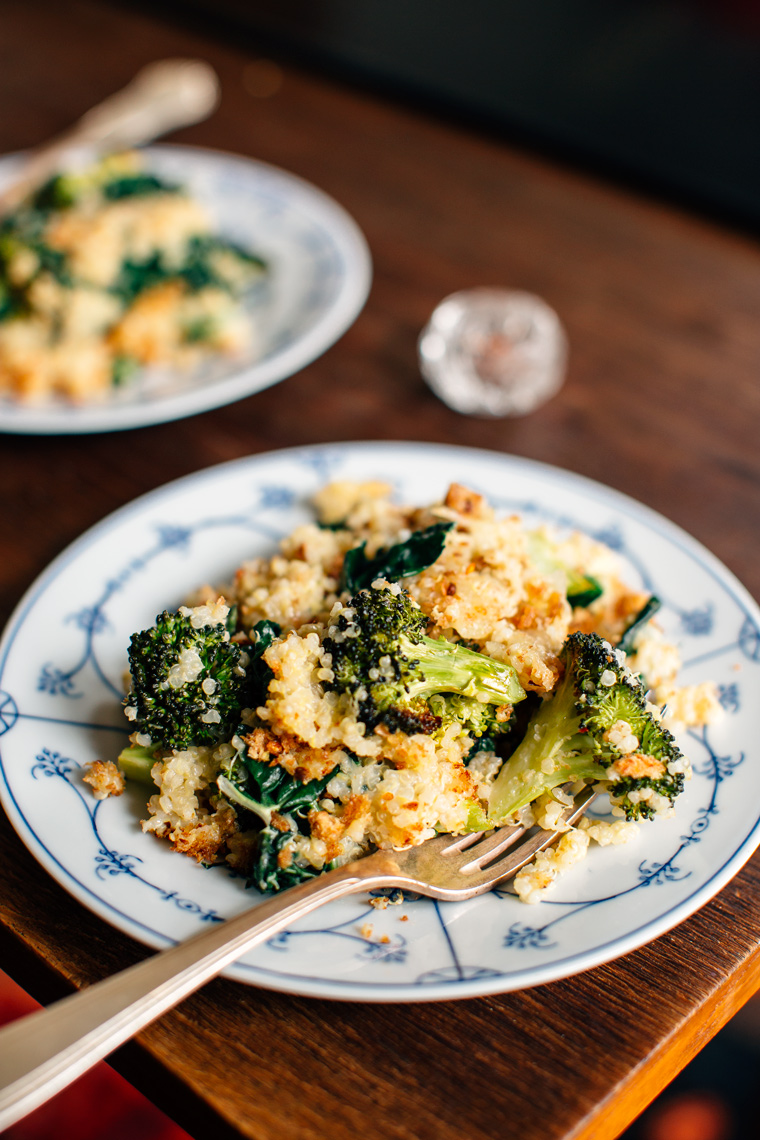 Quinoa Kale Casserole with Roasted Broccoli