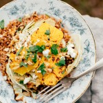 Roasted Cabbage + Broiled Oranges with Farro and Feta