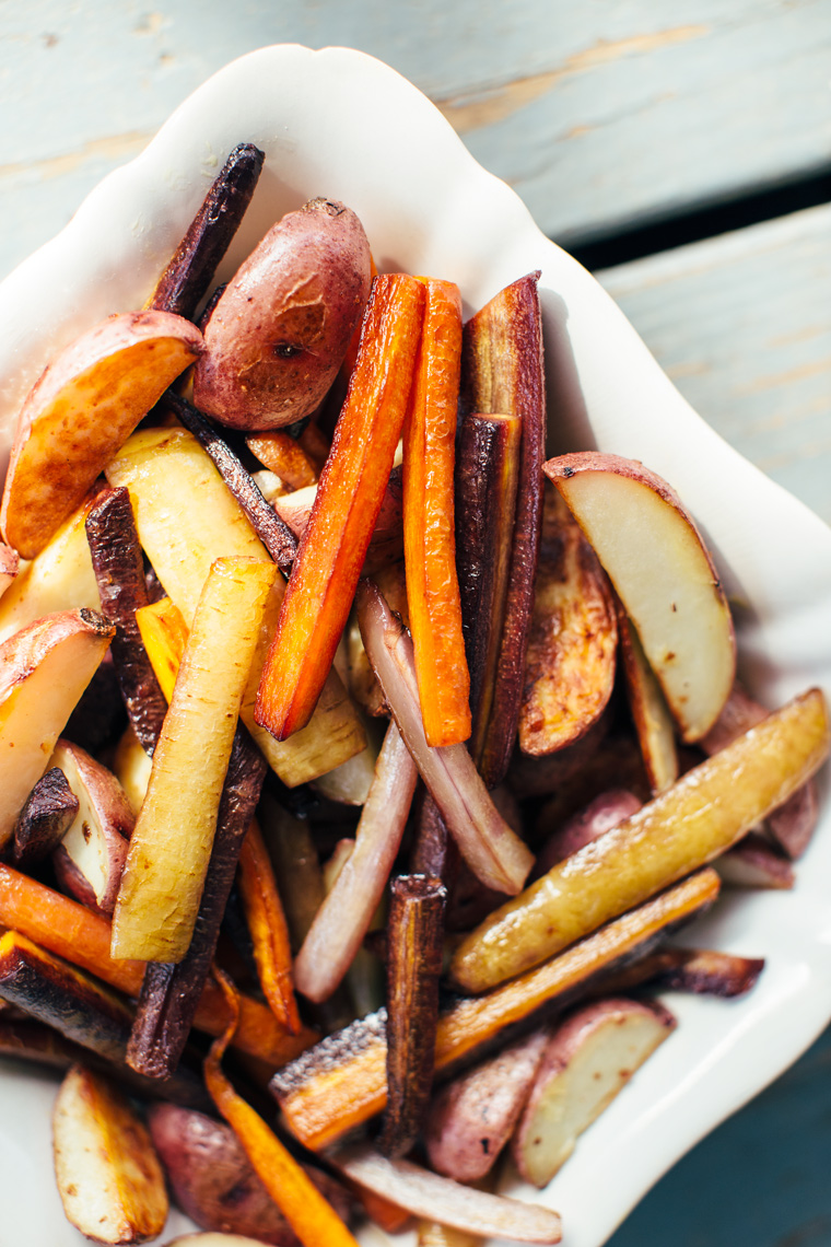Roasted Carrots + Potatoes with Hazelnut Picada