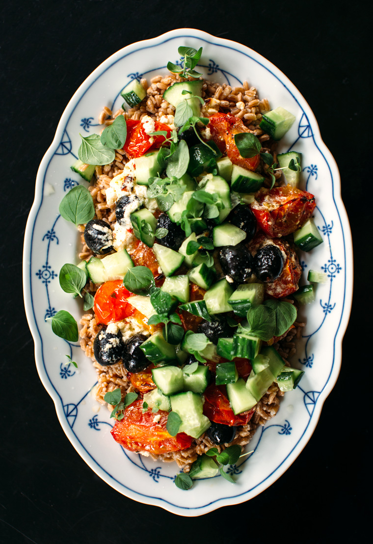 Greek Farro Salas with Broiled Feta + Tomatoes