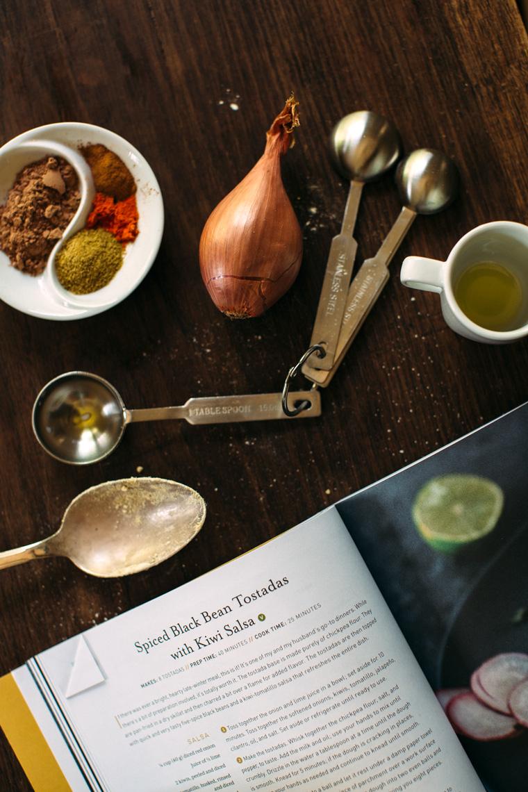 Lindsey's Spiced Black Bean Tostadas with Kiwi Salsa