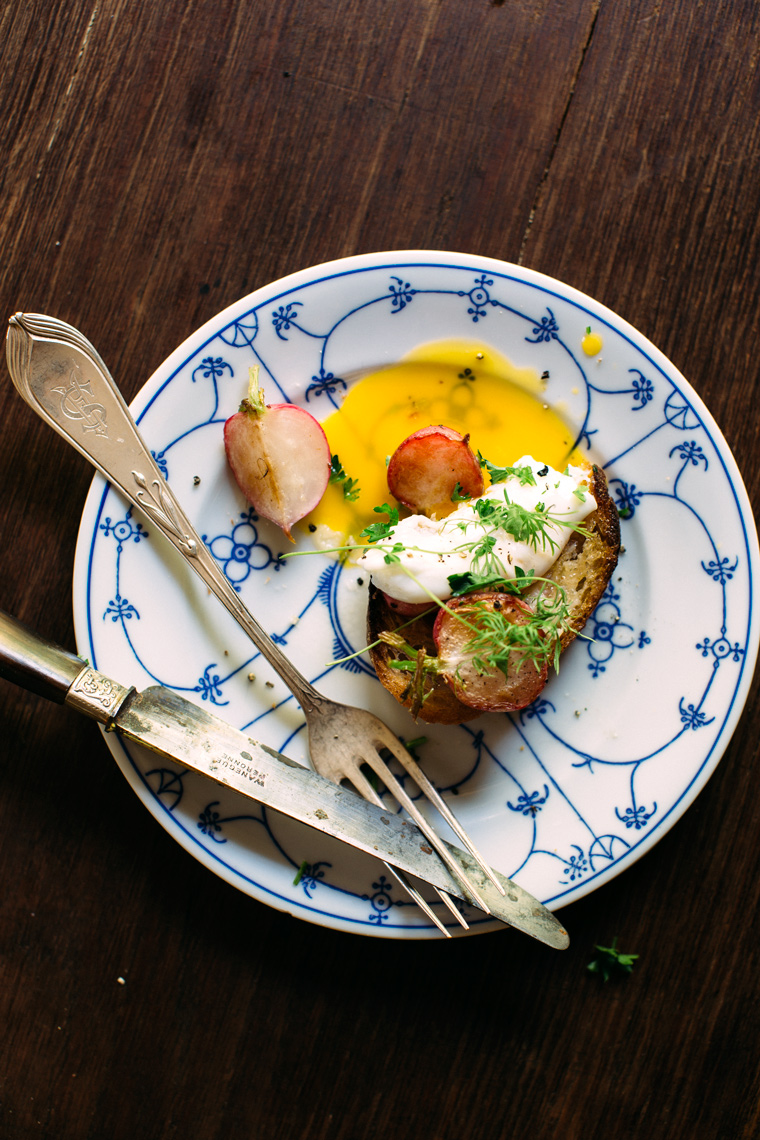 Buttered Radish Toasts with Parsley + a Poached Egg