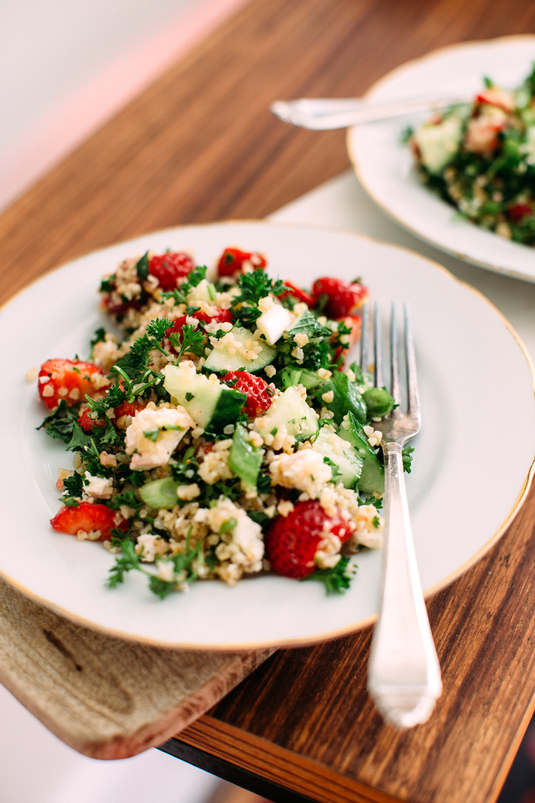 Strawberry Tabbouleh Salad with Feta + Mint