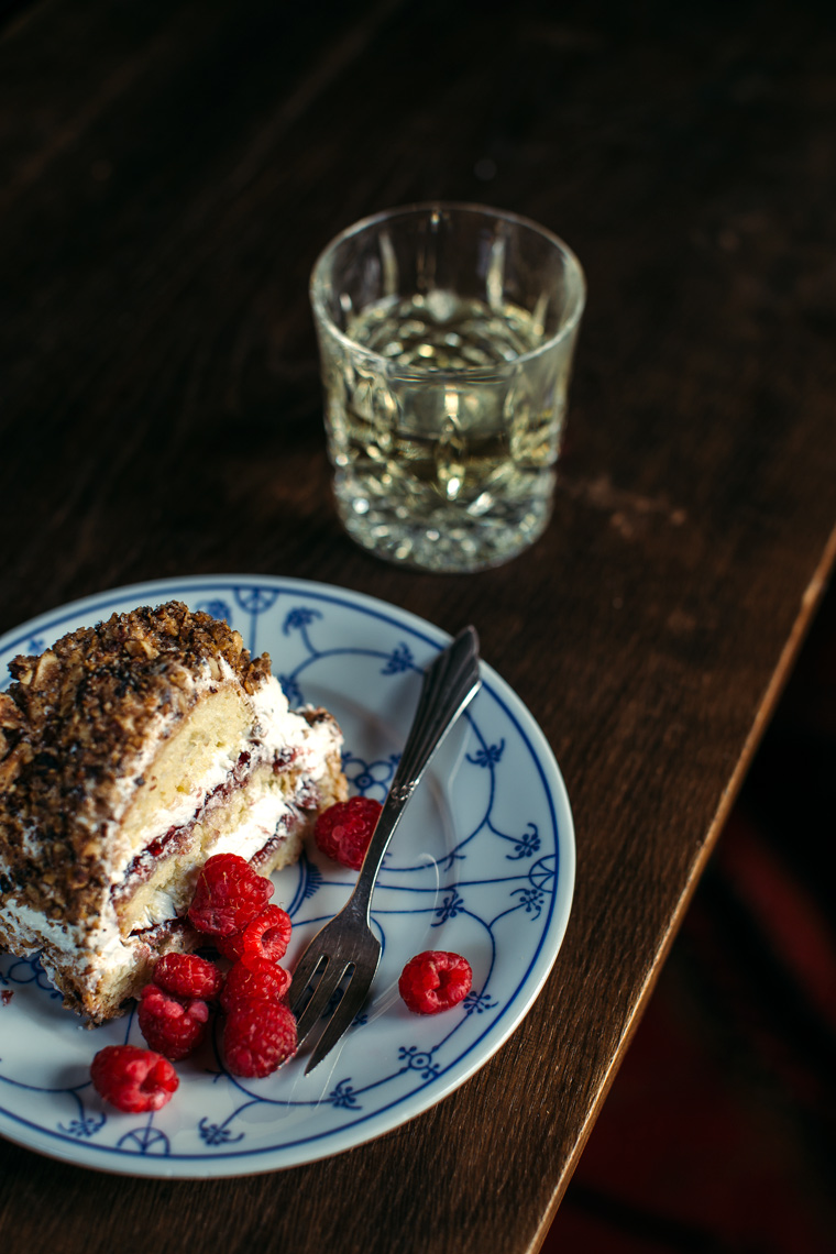Frankfurter Kranz | German Buttercream Cake with Raspberry Jam + Hazelnuts