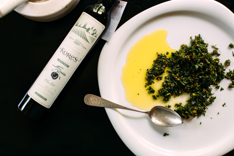 Pistachio Pistou 3 Ways featuring Kores Estate Extra Virgin Olive Oil