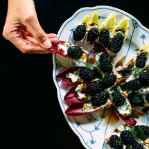 Stuffed Endive Appetizer with Blackberries and Whipped Chèvre