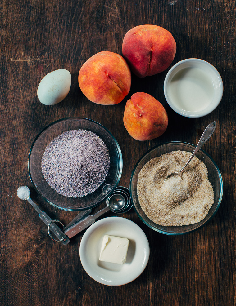 Purple Polenta Pudding with Peaches