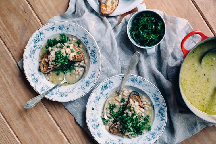 White Bean Soup with Garlic + Herbs