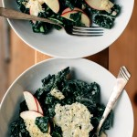 Kale with Quick-Pickle Apple, Gruyère Crisps, + Creamy Dijon Vinaigrette