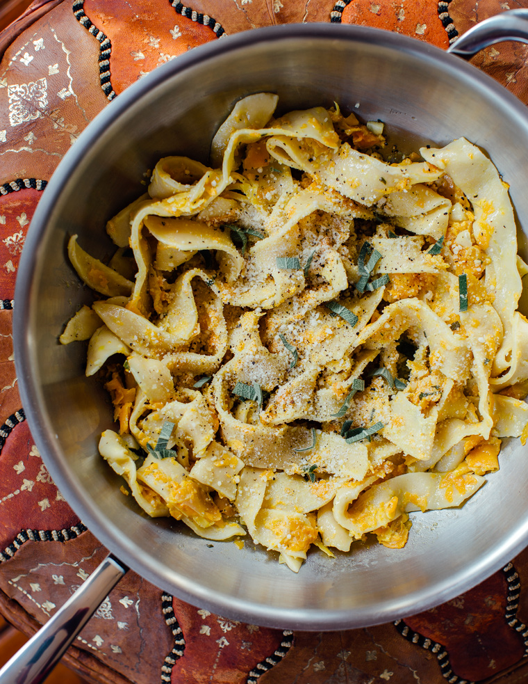 Pasta with Butternut Squash + a Creamy, Garlicky, Sage Sauce